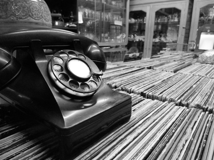 vintage telephone black an white